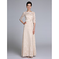 Lanting Bride® Sheath / Column Mother of the Bride Dress Floor-length Half Sleeve Lace with Sash / Ribbon