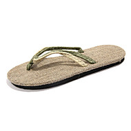 Unisex Flats Summer Flip Flops Canvas Casual Flat Heel Braided Strap Black / Green / Red Others