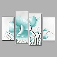 Pintados à mão Abstracto / Paisagem / Vida Imóvel / Floral/Botânico Pinturas a óleo,Pastoril / Modern 4 Painéis TelaHang-painted pintura