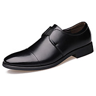 Men's Oxfords Spring Fall Comfort Pointed Toe Cowhide Office & Career  Party & Evening Chunky Heel Slip-onYellow Walking