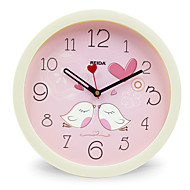 (Farge tilfeldig) 8 inches barn soverom søt tegnefilm veggur mute sirkulær klokke kvarts klokke