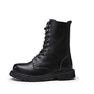 Men's Boots Winter Riding Boots / Comfort / Round Toe Leather Outdoor Flat Heel Others / Lace-up Black / Brown