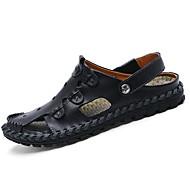 Kényelmes-Lapos-Női cipő-Szandálok-Alkalmi-Bőr-Fekete Barna Sárga