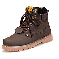 Men's Boots Fall Winter Cowhide Casual Work & Safety Flat Heel Lace-up Brown Yellow Tan Walking