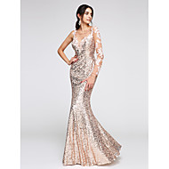 TS Couture® Formal Evening Dress Trumpet / Mermaid Scoop Floor-length Sequined with Appliques / Sequins