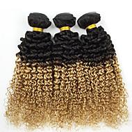 "300g/lot 18"" Raw Brazilian Virgin Hair Deep Wave Human Hair Two Tone Color 1b/27 Curl Hair Weaves"
