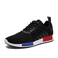 Men's Sneakers Spring / Fall Round Toe PU / Tulle Athletic Flat Heel Others / Lace-up Black / Blue / Pink / Gray Sneaker
