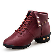 Non Customizable Women's Dance Shoes Leather Leather Dance Sneakers / Modern Boots / Sneakers Flat Heel Practice /