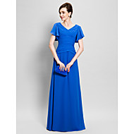 Lanting Bride Sheath / Column Mother of the Bride Dress Floor-length Short Sleeve Chiffon with Criss Cross