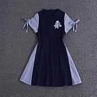 Feminino Bainha Vestido,Happy-Hour / Casual / Férias Sensual / Simples / Fofo Color Block Decote V Acima do Joelho Manga Curta Azul