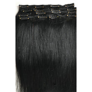 """16 """"-28"""" 7pcs reta 100g / cabelo virgem virgem packindian grampo de cabelo humano indian em extensões do cabelo"""