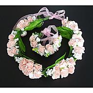 Women's Fabric Headpiece-Wedding Wreaths 2 Pieces Pink / White Flower 54cm