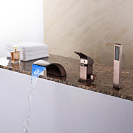 Modern Tub LED / Waterfall / Handshower Included with Ceramic Valve 1-Handle 3-Holes for ORB, Bathtub Faucet