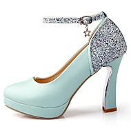 힐-웨딩 드레스 파티/이브닝-여성-플랫폼-레더렛-청키 굽 플랫폼-블루 핑크 화이트