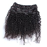 """6a 3b 3c kinky lockigt klipp i mänskliga hårförlängningar 7st naturligt svart brasilianskt jungfru människohår 12 """"-26"""" lager"""