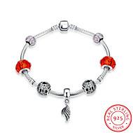 Fashion Strand Bracelets Women's Bracelets 925 Pure Silver Christmas Gift Red Color(1pc)