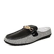 Kényelmes-Lapos-Női cipő-Papucsok & Balerinacipők-Alkalmi-Vászon-Fekete Fehér