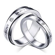 2016 Fashioin Noble Titanium Steel CZ Stone Wedding Couples Ring  For Women&Man