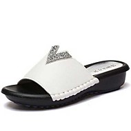 ženske papuče&japanke za proljeće / ljeto / jesen papuče sintetičkih haljina / povremeni ravna peta biser crno / bijelo