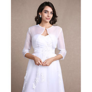 Women's Wrap Shrugs 3/4-Length Sleeve Organza White Wedding / Party/Evening / Casual Scoop 30cm Draped Open Front