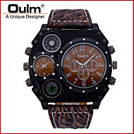 Oulm Men's Military Watch Thermometer Dual Time Zones Quartz Japanese Quartz Leather Band Cool Luxury Black Brown