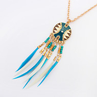Women's Pendant Necklaces Resin Feather Alloy Vintage Bohemian Fashion Black Coffee Blue Rainbow Jewelry Party Daily Casual 1pc
