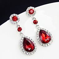 עגיל Oval Shape עגילי טיפה תכשיטים 1 זוג אופנתי יומי / קזו'אל סגסוגת נשים כסף