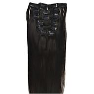80G (7pcs) / להגדיר קליפ בתולת שיער 10 צבעים ברזילאי 22 אינץ 'בהארכת שיער קליפ ישר בתוספות שיער אדם