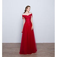 포멀 이브닝 드레스 - 우아한 A-라인 오프 더 숄더 바닥 길이 레이스 튤 와 아플리케 비즈 플라워 주름장식 스팽글