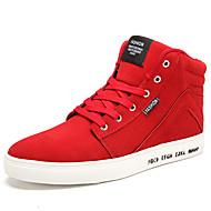 Herre-Semsket lær-Flat hæl-Komfort-Treningssko-Sport Fritid-Svart Blå Rød