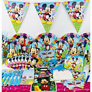 מיקי מאוס 78pcs יום הולדת קישוטים למסיבת evnent אספקת ילדי יוקרת צד צד קישוט 6 אנשים משתמשים