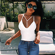 Women's Casual/Daily Simple Summer Tank Top,Solid Strap Sleeveless White / Black Cotton Thin