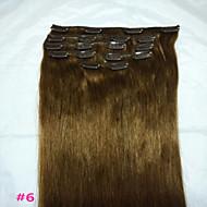 """18"""" # 6 klamerka w ludzkich włosów rozszerzeniach rzeczywistym 8szt / 80g"""