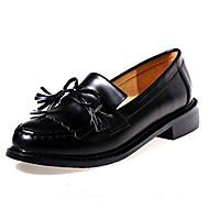 Women's Oxfords Fall Comfort / Round Toe PU Outdoor Chunky Heel Tassel Black / Burgundy Others