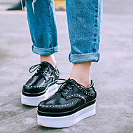 Women's Oxfords Fall Creepers / Pointed Toe PU Casual Platform Rivet / Lace-up Black Others