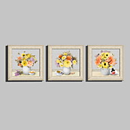 E-HOME® Framed Canvas Art,Flowers in A Vase Framed Canvas Print Set of  3