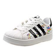 Dames Sneakers Lente / Herfst Zachte zool Kunstleer Buiten / Sport Hak Veters Zwart / Roze / Wit Sneakers