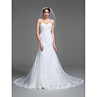 Lanting Bride® Trumpet / Mermaid Wedding Dress Court Train Sweetheart Tulle with Appliques