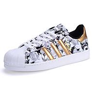 Herre-PU-Flat hælFlate sko-Fritid Sport-Svart Hvit Svart Og Gull