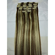 "15"" klipp i human hair extensions # 6/613 8pcs / 70g"
