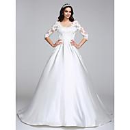 Lanting Bride® Corte en A Vestido de Boda Corte Cuchara Satén con Apliques