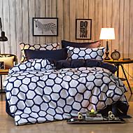 גיאומטרי סטי שמיכה 4 חלקים פוליאסטר דוגמא הדפסה תגובתית פוליאסטר קווין 4 יחידות (1 כיסוי שמיכה, 2 כיסוי כרית, 1 סדין)