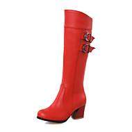Черный Коричневый Красный Белый-Женский-Для праздника Повседневный Для вечеринки / ужина-Полиуретан-На толстом каблуке-Удобная обувь-