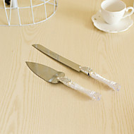 Wedding Accessories Flower Handle Cake Knife And Server Serving Set with Crystal Leaf,White