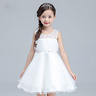 A-line Knee-length Flower Girl Dress - Cotton / Organza / Satin Sleeveless Jewel with Beading / Sequins
