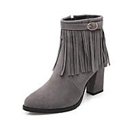 Women's  Fashion Boots / Pointed Toe Velvet Office & Career / Dress / Casual Chunky Heel Zipper / TasselBlack