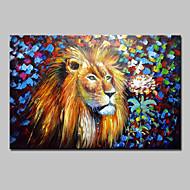 pintados à mão pintura a óleo abstrata do leão animais moderna sobre a arte da parede da lona, com quadro esticado pronto para pendurar