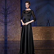 Formal Evening Dress A-line Bateau Sweep / Brush Train Satin / Sequined with Embroidery / Sequins