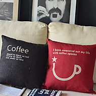 Set Of 2 Coffee Cotton/Linen Pillow Cover