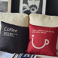 כותנה/פשתן כיסוי כרית,טקסט / הדפסים גרפיים אגבי / ארוחת בוקר/ חדר שינה